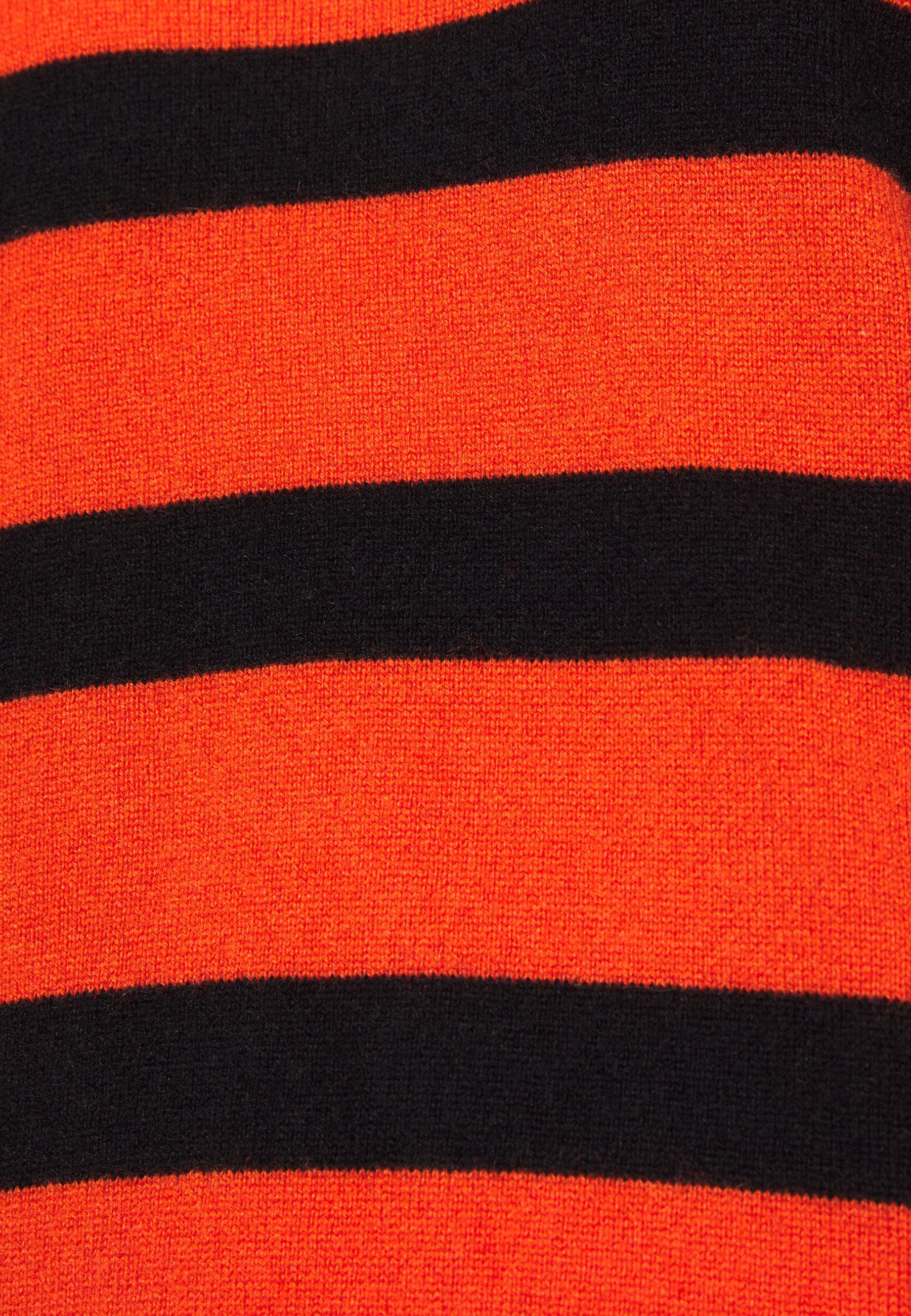 pure cashmere STRIPE MOCKNECK - Neule - orange/black BkgYK