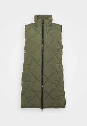 NMFALCON LONG VEST - Väst - dusty olive/black