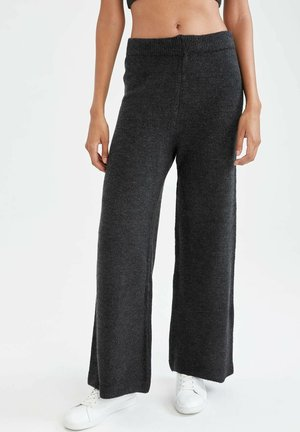 WIDE LEG - Trousers - anthracite