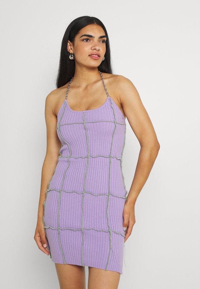 BASKER HALTER DRESS - Gebreide jurk - purple