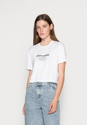 RELAXED CROPPED LOGO TEE - Camiseta estampada - white