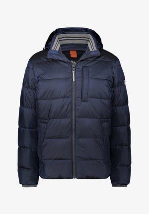 WITH A DETACHABLE HOOD - Down jacket - dark-blue plain