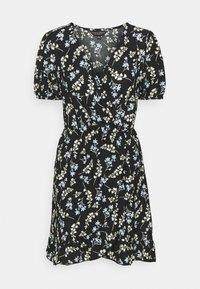 Dorothy Perkins - DITSY FOCHETTE WRAP FRONT MINI DRESS - Jerseykjole - black - 3
