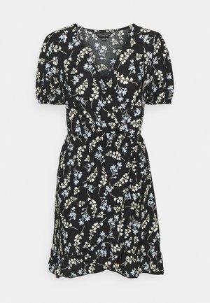 DITSY FOCHETTE WRAP FRONT MINI DRESS - Jersey dress - black
