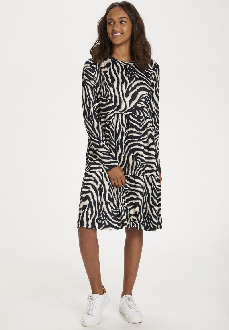 Kaffe - Day dress - black/beige zebra print
