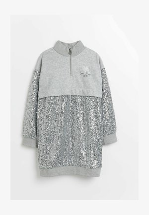 SEQUIN FUNNEL NECK - Day dress - grey