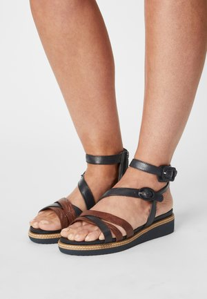 Ankle cuff sandals - navy/nut