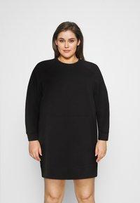 Noisy May Curve - NMLUPA KANGAROO DRESS - Denní šaty - black - 0
