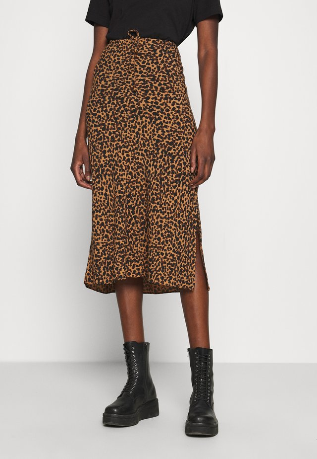 PULL ON MIDI SKIRT SLIT IN LEOPARD - Maksihame - brown