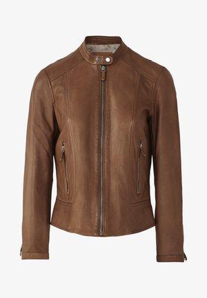 LEDERJACKE MIT DOPPELTEM DRUCKKNOPFVERSCHLUSS AM KRAGEN 04751751 - Leather jacket - brown