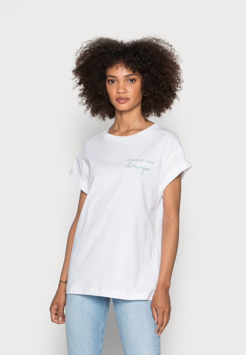 Rich & Royal - BOYFRIEND SPARKLE ORGANIC - Print T-shirt - aqua