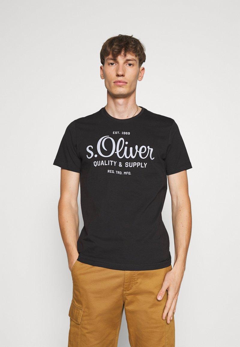 s.Oliver - KURZARM - Triko spotiskem - black