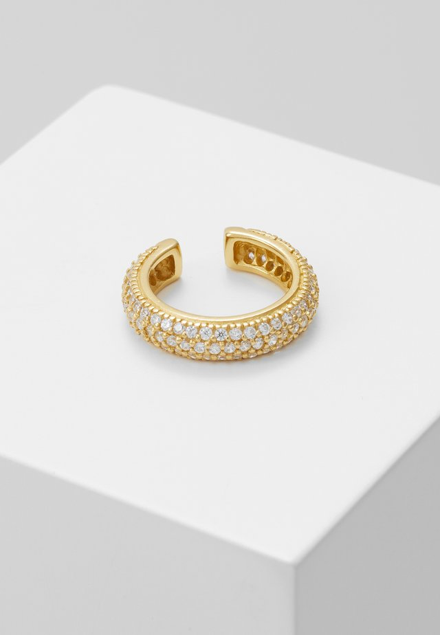 LUXE PAVE DOMED SINGLE EAR CUFF - Earrings - pale gold-coloured