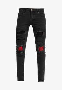 Brave Soul - NEVADA - Jeansy Skinny Fit - grey wash/red paisley - 4