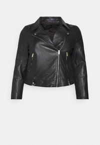 Selected Femme Curve - SLFKATTY  JACKET - Kožená bunda - black - 3