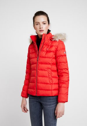 ESSENTIAL HOODED JACKET - Daunenjacke - flame scarlet