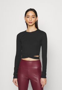 Hollister Co. - ULTRA CROP CUT OUT - Long sleeved top - black - 0