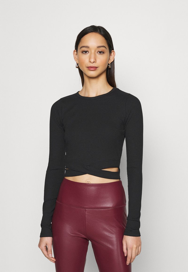 Hollister Co. - ULTRA CROP CUT OUT - Long sleeved top - black