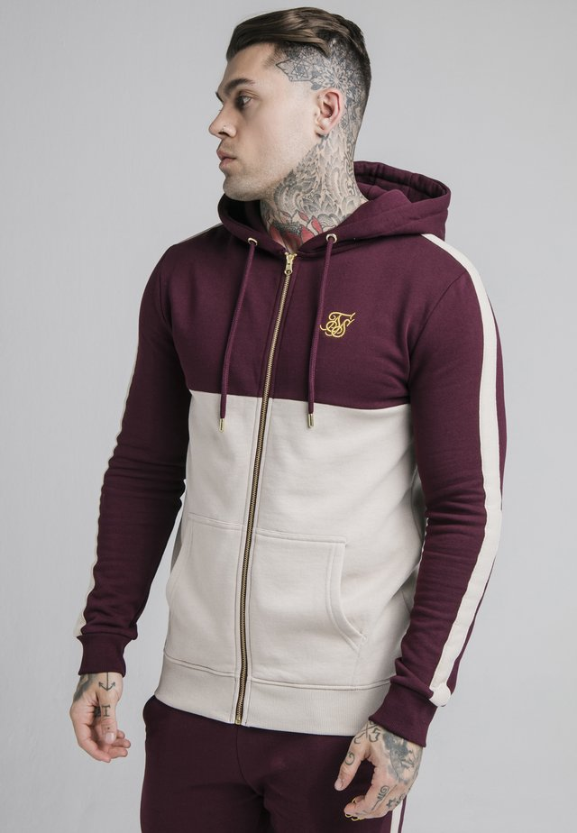 CUT AND SEW BORG ZIPTHROUGH HOODIE - Mikina na zip - wine/cream
