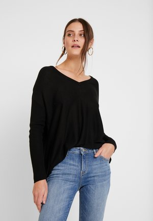 RELAXED V-NECK - Stickad tröja - black