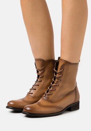 Lace-up ankle boots - honey