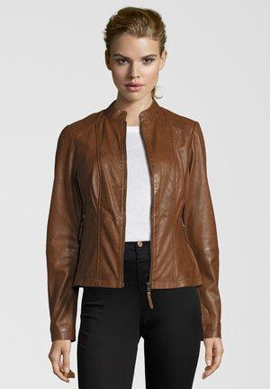 PENELOPE - Leather jacket - mocca