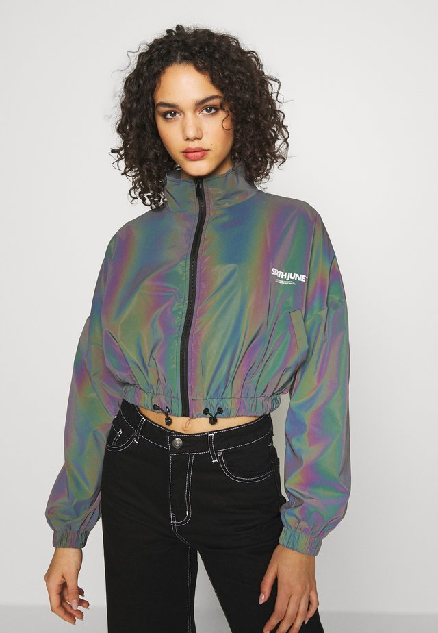 CROPPED IRIDESCENT JACKET - Verryttelytakki - black