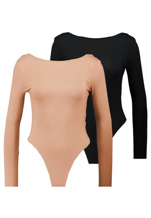 LONG SLEEVE LOW BACK 2 PACK - T-shirt à manches longues - black/ camel