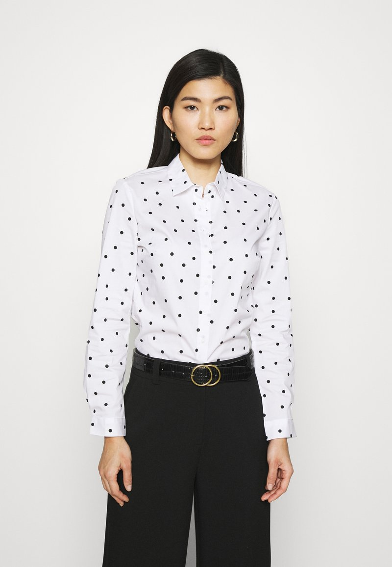 Marks & Spencer London - SPOT FITTED - Button-down blouse - offwhite
