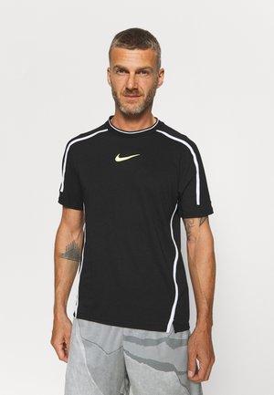 Print T-shirt - black/volt