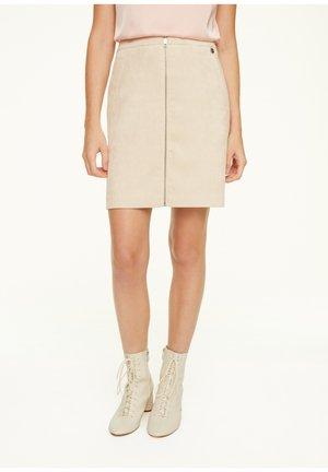 MIT REISSVERSCHLUSS - A-line skirt - beige
