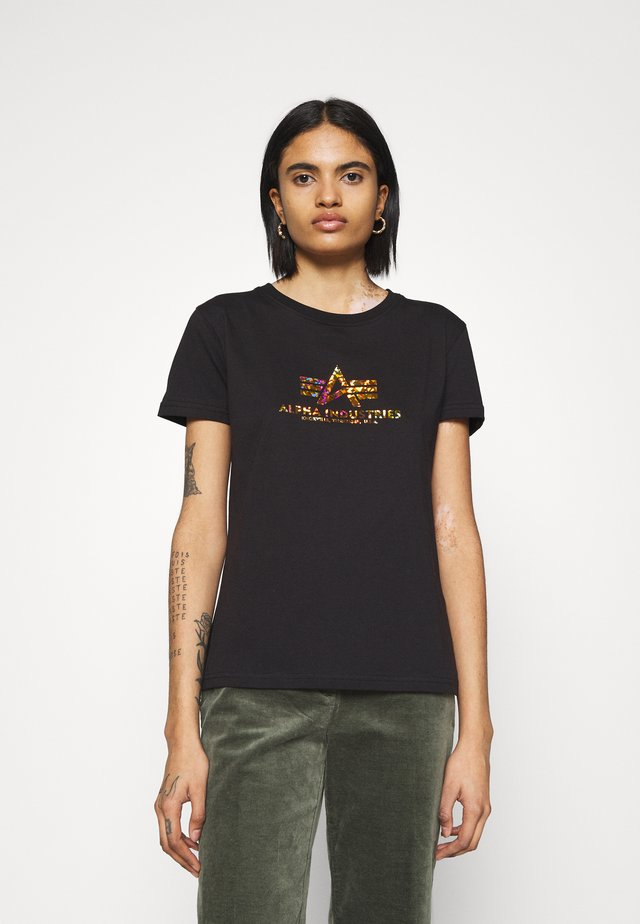 Print T-shirt - black/gold crystal