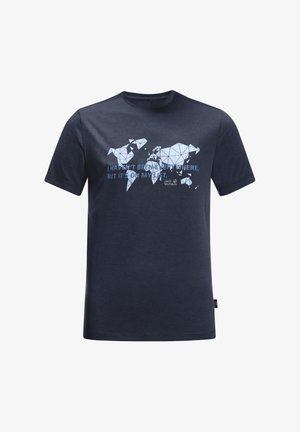WORLD  - Print T-shirt - night blue