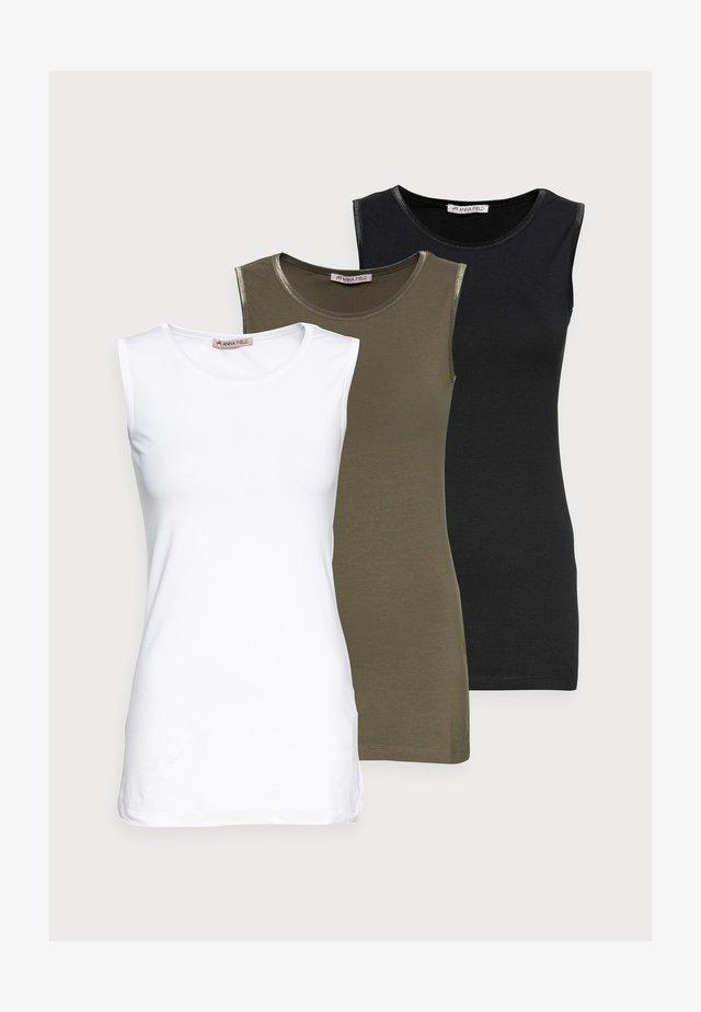 3 PACK - Top - black/white/khaki