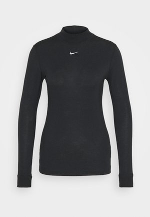 TEE MOCK SLIM - Long sleeved top - black/white