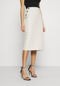 River Island - QUILTED MIDI - A-line skirt - stone - 0