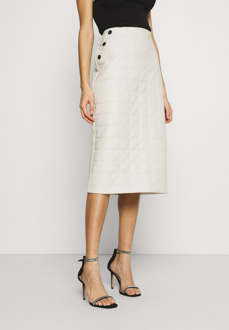 River Island - QUILTED MIDI - A-line skirt - stone