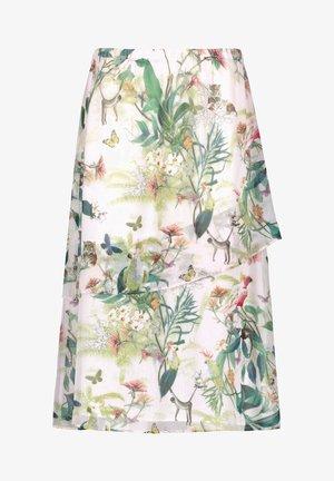 A-line skirt - off white ligh lime aloe druck