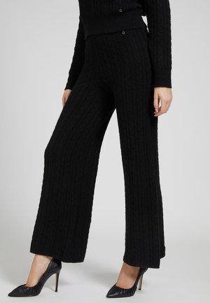 STRICKHOSE ZOPFMUSTER - Kalhoty - schwarz