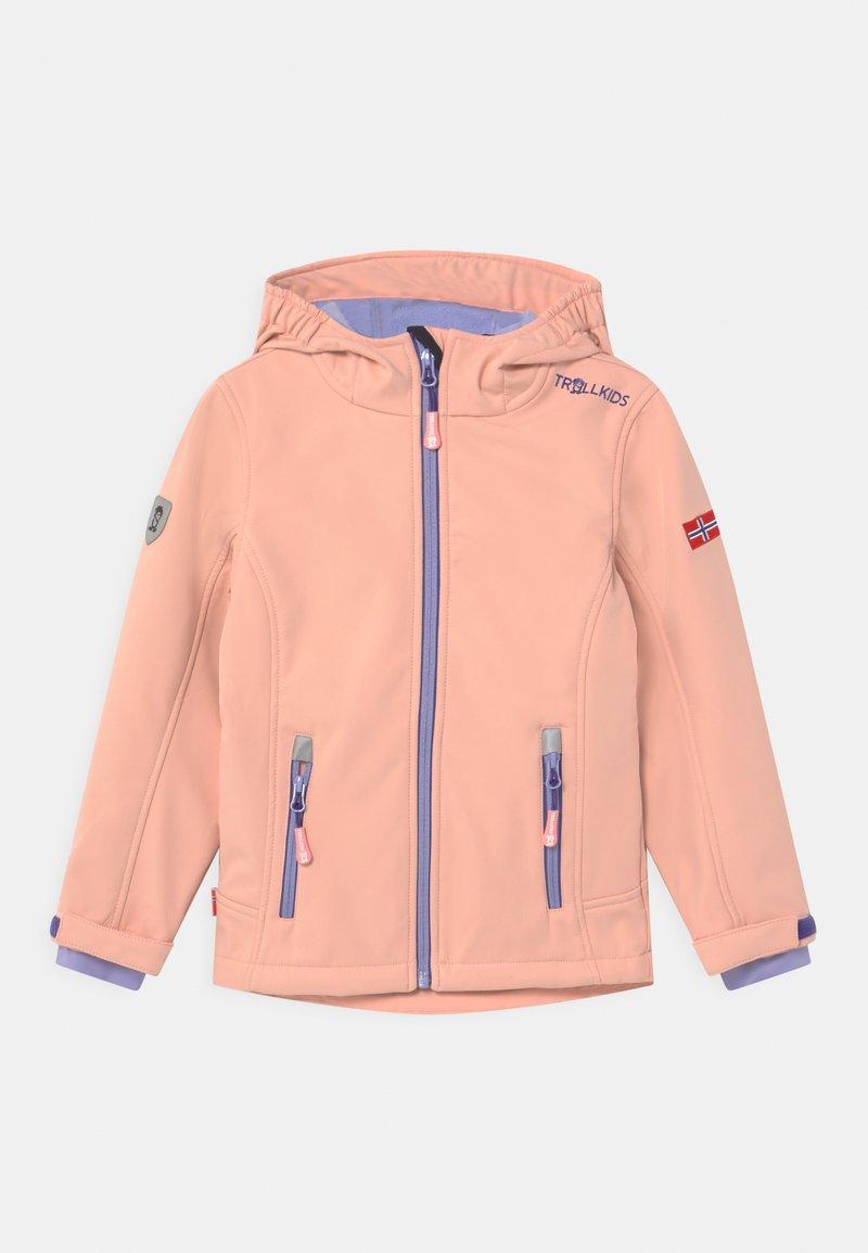 TrollKids - GIRLS TROLLFJORD - Soft shell jacket - apricot/lavender/dark purple