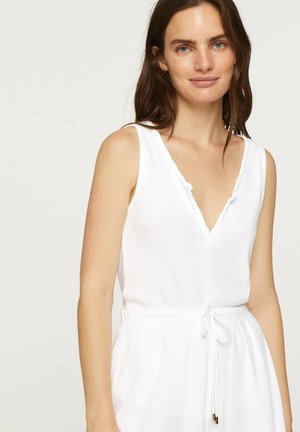 SLEEVELESS COTTON T-SHIRT - Pyjama top - white