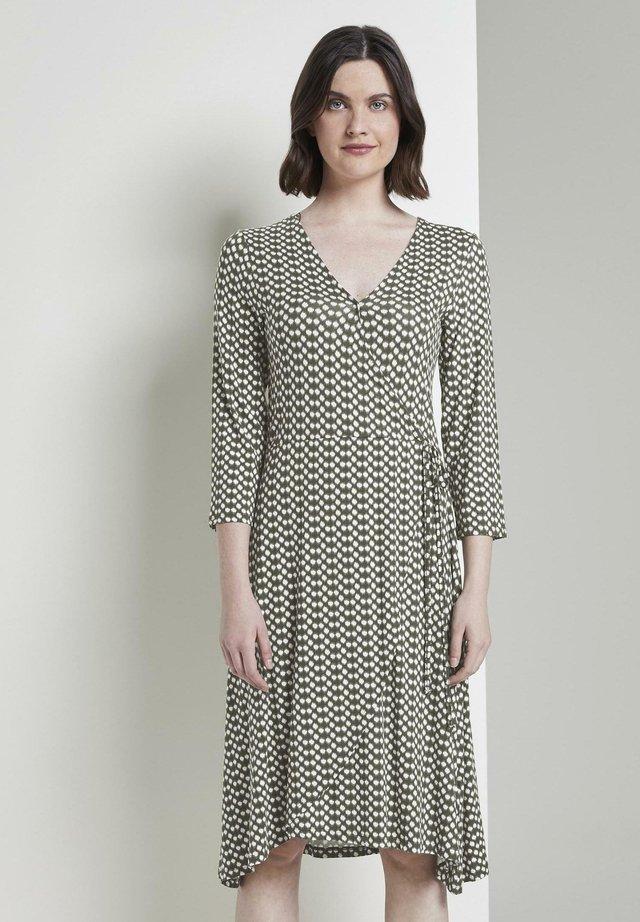 Jerseykleid - khaki dot design