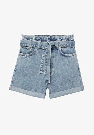 MIT SCHLEIFE - Jeansshort - mittelblau