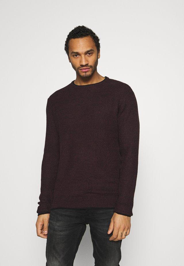 Pullover - red wine/jet black