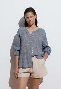 OYSHO - Button-down blouse - dark blue - 1