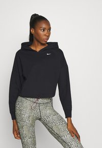Nike Performance - W NK ICNCLSH DRY FLC PT TP GD - Hoodie - black/white - 0