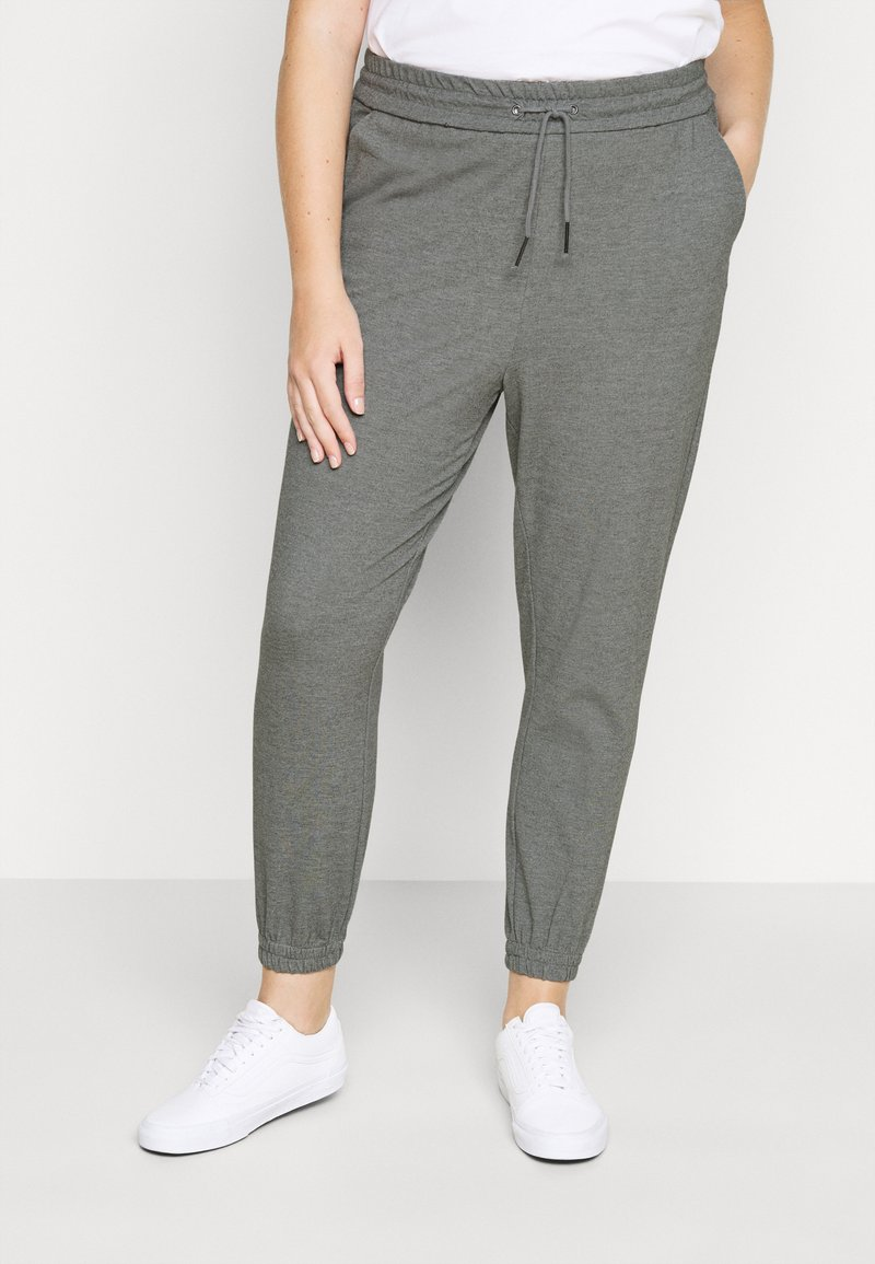 Vero Moda Curve - VMEVA LOOSE TRACK PANTS - Tracksuit bottoms - medium grey melange