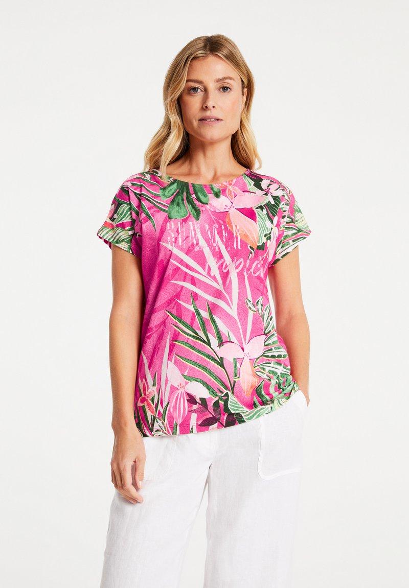 Gerry Weber - FLORAL BEDRUCKTES  - Print T-shirt - lila/pink/ecru/weiss patch