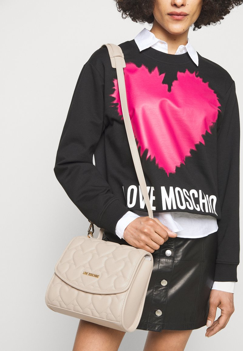 Love Moschino - HEART QUILTED TOP HANDLE CROSSBODY - Sac à main - avorio