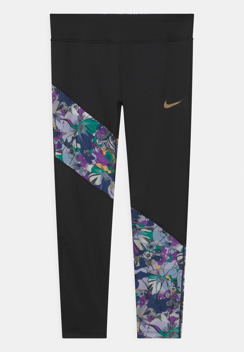Nike Performance - Leggings - black/multi-color/metallic gold